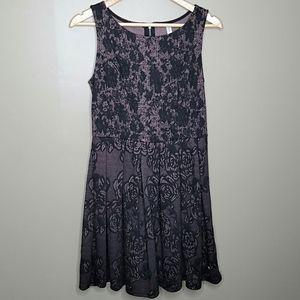 Xhilaration Black Rose Sleeveless Skater Dress